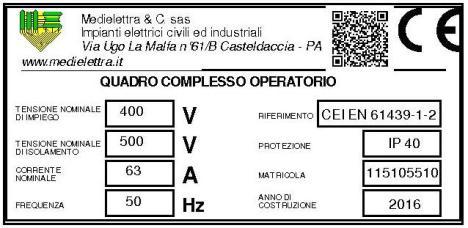ETICHETTA QUADRO COMPLESSO OPERATORIO